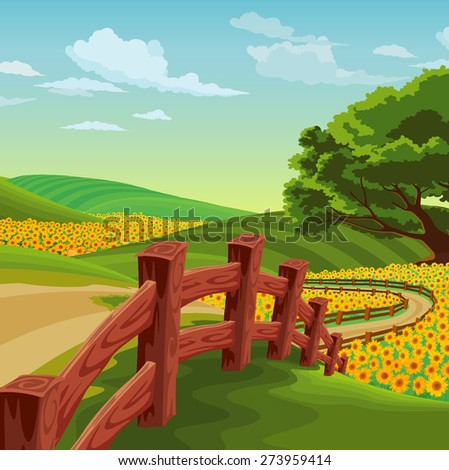 landscape of bridge with colorful flowers
