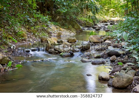 Landscape of canal in forest in Thailand.