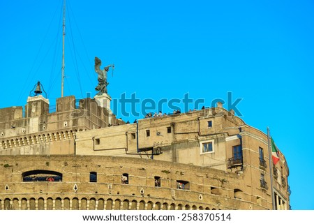 Landscape of castel sant'angelo in rome along the tiber river, italy - stock photo