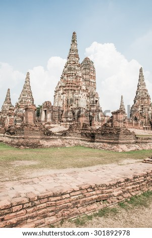 Landscape of Chaiwathanaram Temple, Thailand - stock photo