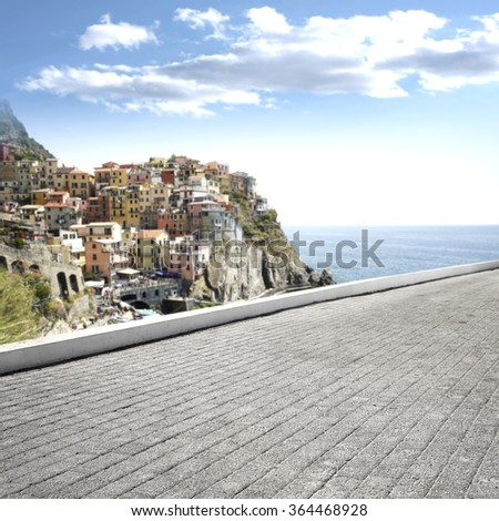 landscape of city and sea with street of free space for your decoration  - stock photo