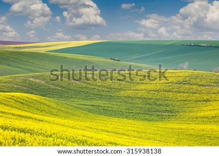 Landscape of colorful hills, springtime beautiful day, Czech Republic, Europe - stock photo