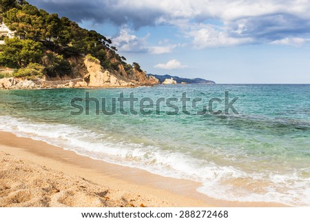 Landscape of Costa Brava beach in Blanes, Spain. - stock photo