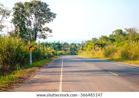 Landscape of Country Road with Naturally, both sides.