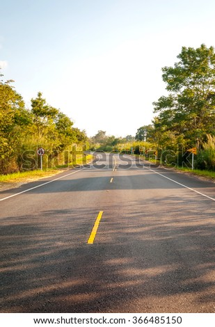 Landscape of Country Road with Naturally, both sides. - stock photo