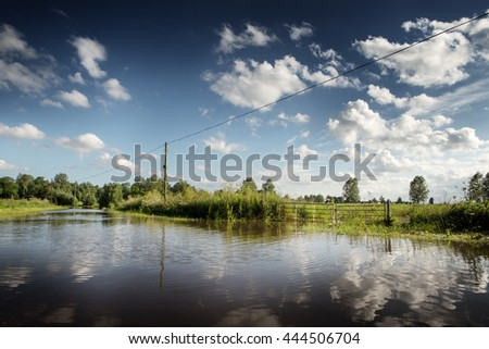 landscape of Countryside in essex of after severe rain