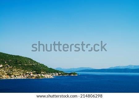 landscape of Croatia town on the beach - stock photo