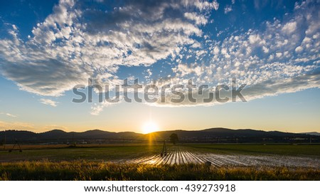 Landscape of cultivated fields and farms with mountain range in the background. Irrigation system for industrial agriculture. Backlight with scenic sky at sunset. - stock photo