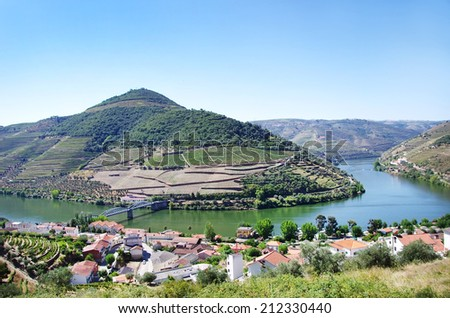 Landscape of  Douro vineyards, Pinhao village, Portugal - stock photo