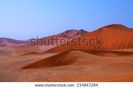 Landscape of dunes in Namib desert, Namibia - stock photo