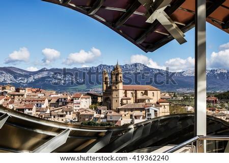 Landscape of Elciego village, famous by its vineyards. Spain - stock photo