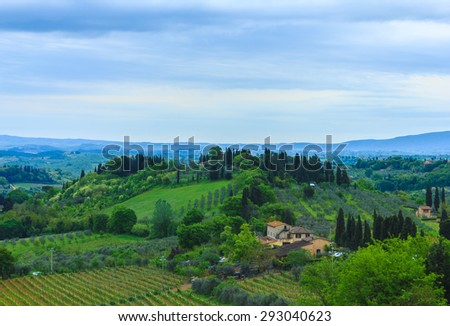 Landscape of field in spring at Tuscany, Italy.