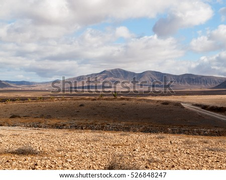 Landscape of fields and mountains near Antigua village, Fuerteventura, Canary Islands, Spain
