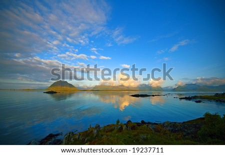 Landscape of fjord in north Norway - stock photo