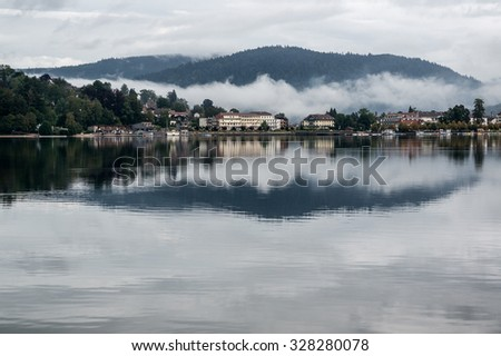 Landscape of Gerardmer in a foggy morning, in the Vosges Mountain, Lorraine, France