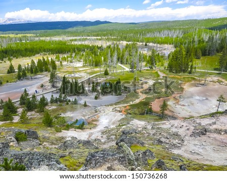 Landscape of geysers in Yellowstone national Park - stock photo
