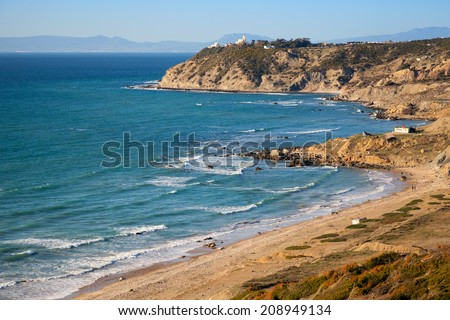 Landscape of Gibraltar strait, Morocco. Atlantic Ocean coast - stock photo