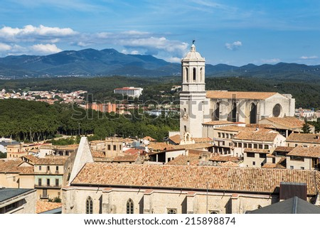 Landscape of Girona with the great Girona Cathedral.