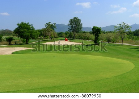 Landscape of golf field - stock photo