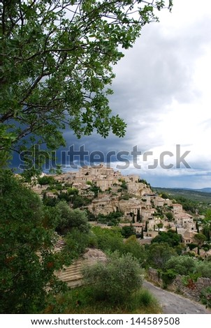 Landscape of Gordes village and countryside, Provence, France - stock photo