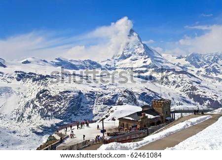 Landscape of Gornergrat Train Station and Matterhorn peak, logo of Toblerone chocolate, located at Switzerland - stock photo