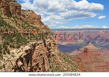 Landscape of Grand Canyon against blue sky at summer in Arizona, USA - stock photo