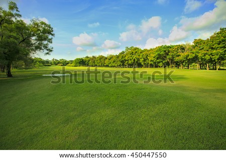 landscape of grass field and green environment public park use as natural background,backdrop - stock photo
