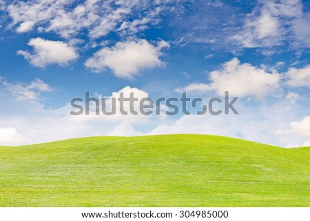 Landscape of green grass field in clear blue sky and white cloud - stock photo