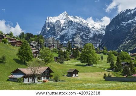 Landscape of Grindelwald Village in Berner Oberland, Switzerland - stock photo