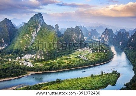Landscape of Guilin, Li River and Karst mountains. Located near The Ancient Town of Xingping, Yangshuo County, Guangxi Province, China. - stock photo