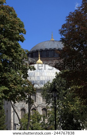 Landscape of Hagia Sophia in Istanbul, Turkey - stock photo