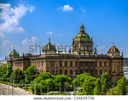 Landscape of Historic Czech National Museum Building, Prague - stock photo
