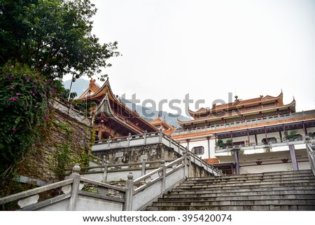 Landscape of Hongfa temple buddhist monastery complex - stock photo