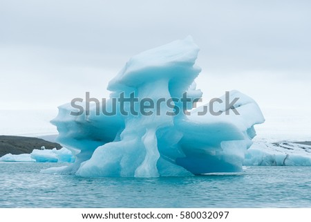 Landscape of Iceland, Europe. Iceberg in the glacial lagoon, located in the southeastern part of the island, near the glacier Vatnajokull. Tourist attraction