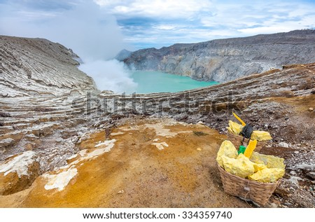 landscape of Ijen Crater Indonesia with Lake and Blue sky  - stock photo