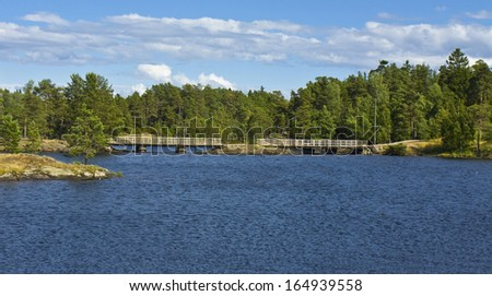 Landscape of island Vallam on Ladoga lake on North of Russia.
