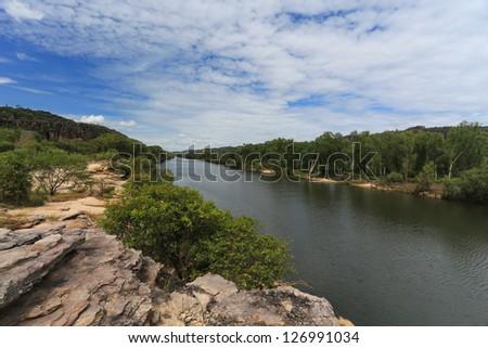 Landscape of Kakadu with Alligator River - stock photo