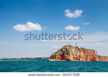 Landscape of Kaliakra, headland in Southern Dobruja region of the northern Bulgarian Black Sea Coast - stock photo