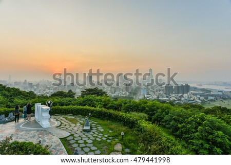 Landscape of Kaohsiung Harbor under Foggy Sunrise on the Viewing Platform of Shoushan