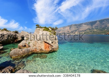 Landscape of Kefalonia island in Greece