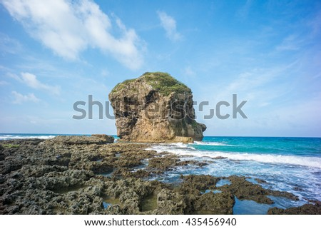 Landscape of Kenting with Chuanfan Rock