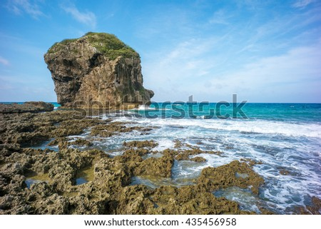 Landscape of Kenting with Chuanfan Rock - stock photo