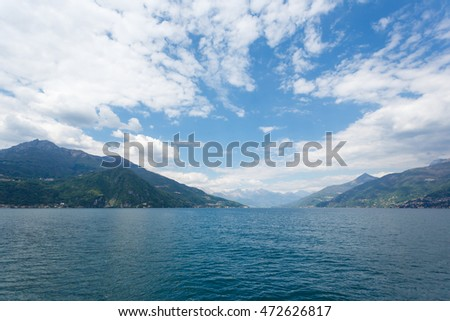 Landscape of Lake Como in Italy at summer time