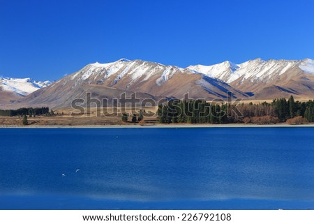 Landscape of lake in the south Island, New Zealand. - stock photo