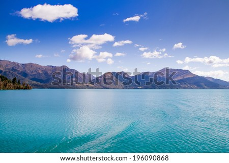 Landscape of  Lake near Queenstown in the south Island, New Zealand. - stock photo