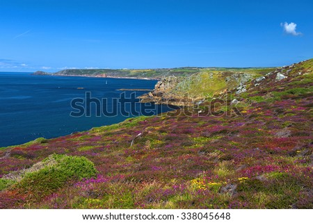 landscape of Land's End in Cornwall England, the most westerly point of England on the Penwith peninsula eight miles from Penzance on the Cornish coast - stock photo