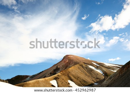 Landscape of Landmannalaugar Nature Reserve Showing Mountain at Sunset. Landmannalaugar is a place in the Fjallabak Nature Reserve in the Highlands of Iceland.