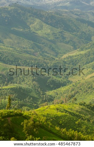 Landscape of layer mountain, Nan Province, Thailand