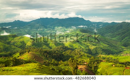 Landscape of layer mountains, Nan Province, Thailand
