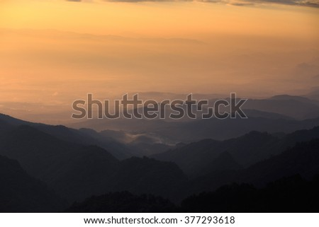 Landscape of layer of mountain in dark tone